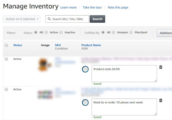 Amzpecty Amazon Seller Central Manage Inventory Page Product Note Showcase