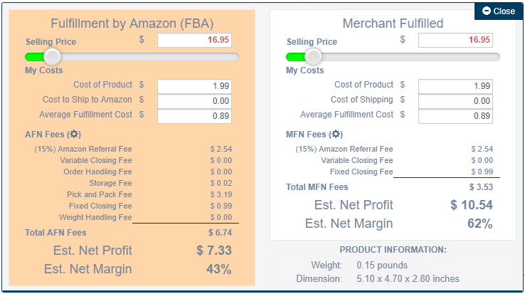 Amzpecty Chrome Extension Individual Amazon Profit Calculator Showcase