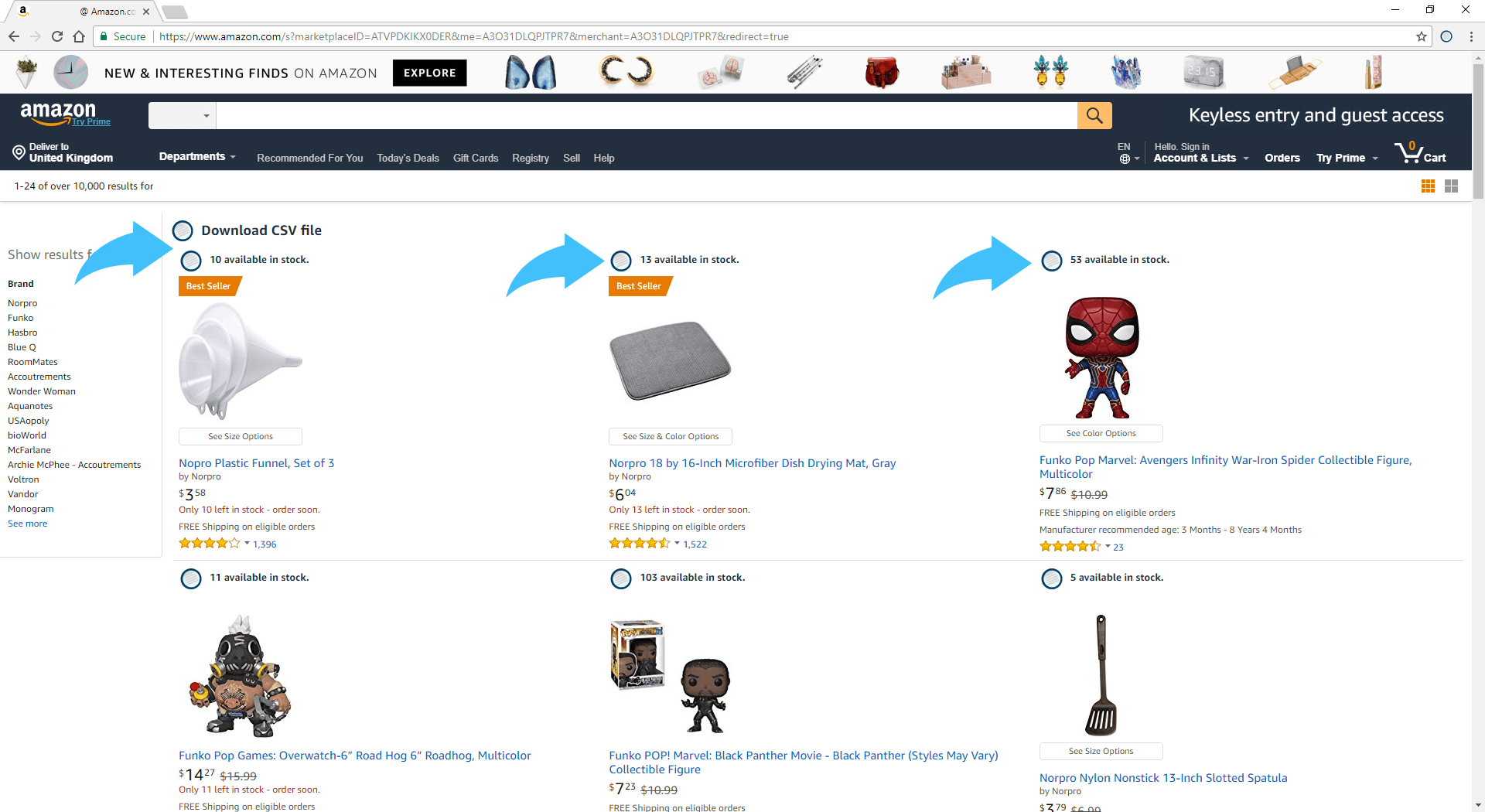 Run Amzpecty within Amazon Merchant's Storefront Page